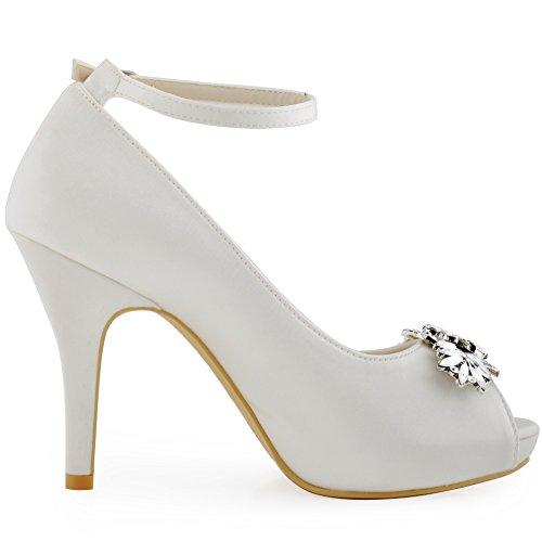 ElegantPark HP1544I Mujer Fiesta Plataforma Peep Toe Rhinestone Zapatos Clips Nupcial Zapatos De Boda Ivoire