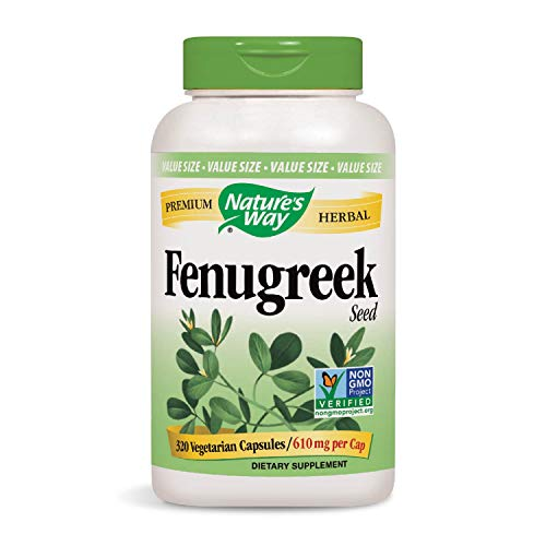 Nature's Way Premium Herbal Fenugreek Seed 610 MG Veg-Capsule, 320 - 100 Capsules Fenugreek Seed