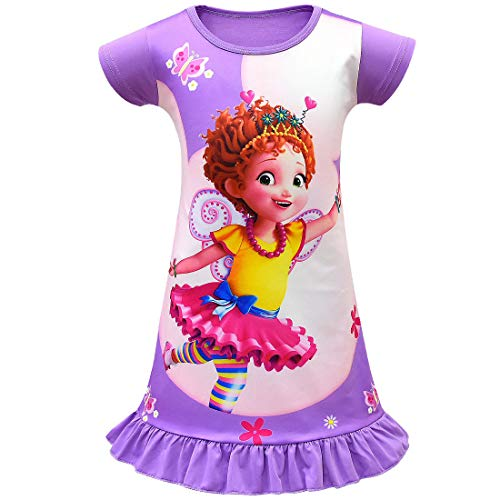 Wenge Fancy Nancy Comfy Loose Fit Pajamas Girls Printed Princess Dress Nightgown for Toddler 4-9Years (100/2-3Y, Purple) -