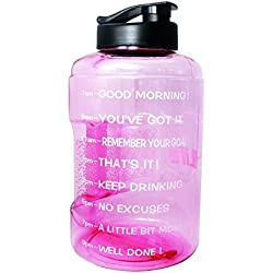 BuildLife 1 Gallon(128OZ/83OZ) Water Bottle Inspirational Fitness Workout Sports Water Bottle with Time Marker Times for Measuring Your H2O Intake,BPA Free (1 Gallon, 1 Gallon-Light Pink)