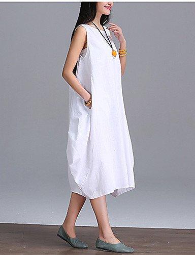 PU&PU Robe Aux femmes Swing Street Chic,Couleur Pleine Col Arrondi Midi Lin , white-l , white-l