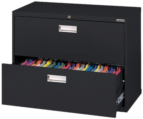 Sandusky 600 Lateral File Steel 2 Drawer Cabinet, 36'' Width x 28-3/8'' Height x 19-1/4'' Depth, Black by Sandusky