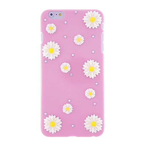CaseBee® Flower Series - Simple & Pretty 3D Daisies Flower iPhone 6 Plus (5.5) Case - Handmade Bling Bling Rhinestones - Perfect Gift (Package includes Extra Crystals & Screen Protector) (Pink)