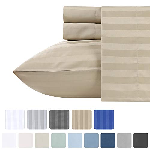Pure Cotton Sateen Khaki Bedding- 3 Piece Twin XL Size Soft Bed Set, 500 Thread Count Dobby Damask Stripes, Lightweight Comfortable Sheets, Deep Pocket Fits Mattress Upto 17 Inches (Damask Sheets Twin)