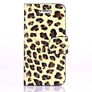 SHOUJIKE Leopard Print Patterns PU Full Body Case with Card Slot and Stand for iPhone 5/5S
