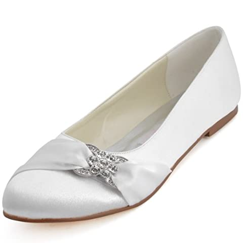 ElegantPark EP2006 Women Closed Rhinestones Comfort Flats Pleated Satin Wedding Bridal Shoes White US 12
