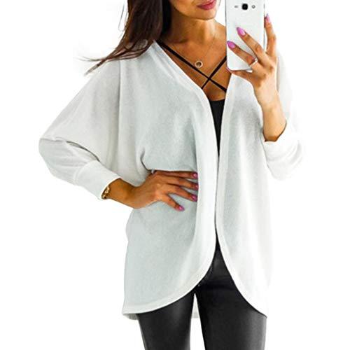 vavomy Women Clearance Sale Long Sleeve Lattice Tartan Cardigan Top Coat Jacket Outwear Blouse (L, White) by vavomy