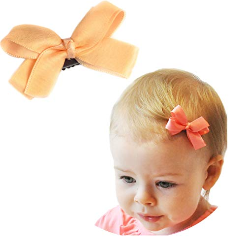 Baby Wisp Boutique Satin Organza Ribbon Hair Bow Wisp Clip for Baby Girls Toddlers Infant (Peach)