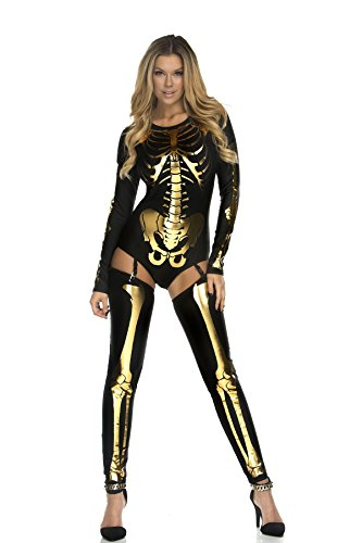 Women Skeleton Bone Frame Jumpsuit Bodysuit Halloween Cosplay Costume Pants (Black (Halloween Costume Ideas Gold Pants)