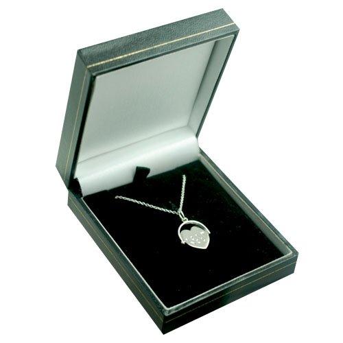 """Argent Sterling - Pendentif en forme de coeur 16x16mm. Le bijoux tourne, et il y a écrit """"I love you"""" dessus. Fourni avec une chaine brillante."""