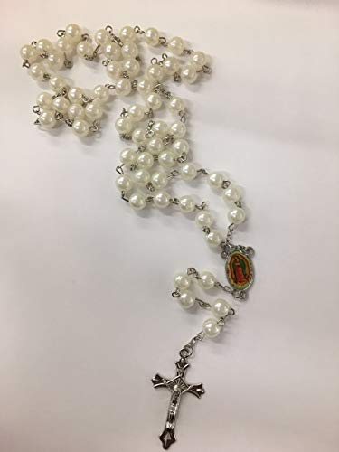 12 X Wholesale Bulk Rosary Long Faux Pearl Rosary Chain for Baptism, Wedding, Religious Favor and Your Choice of Gift Bag/Baptism Favor