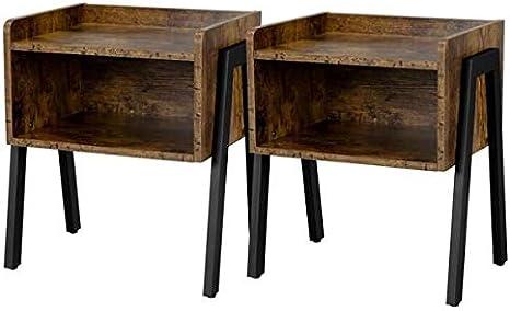 Stile Industriale Marrone Vintage LET55BX Struttura in Metallo per Camera da Letto Soggiorno VASAGLE Comodino Montaggio Facile Tavolino Divano con Cassetto e Ripiano