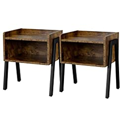 Yaheetech Industrial Nightstand with Sto...