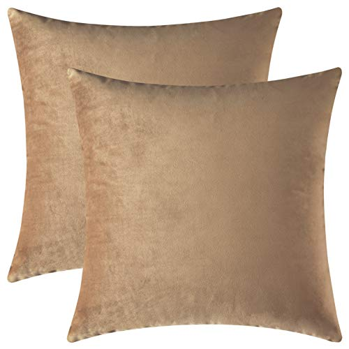 (Mixhug Set of 2 Cozy Velvet Square Decorative Throw Pillow Covers for Couch and Bed, Tan, 18 x 18 Inches)