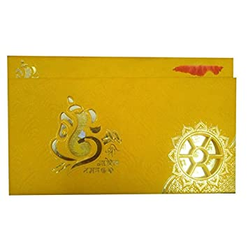 Vcc Ganesha Design Hindu Marriage Invitation Card In Yellow