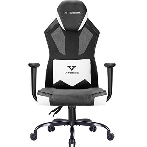 Vitesse Gaming Chair Breathable Mesh High Back Racing Style Office Chair Ergonomic Swivel Computer Desk Chair with Lumbar Support Black