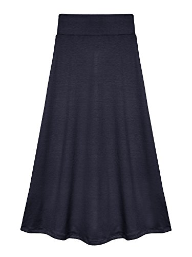 Bello Giovane Girls 7-16 Years Solid Maxi Skirt (Small, Navy)