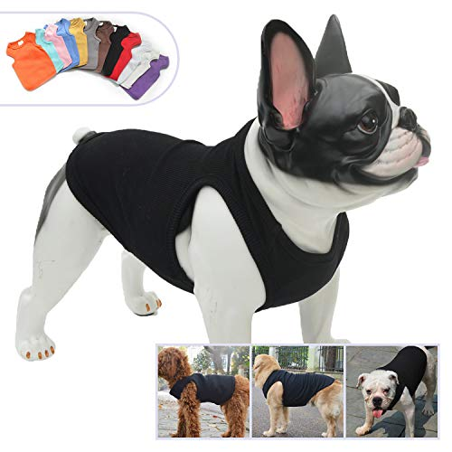 Lovelonglong 2019 Summer Pet Clothing, Dog Clothes Blank T-Shirts Ribbed Tanks Top Thread Vests for Large Medium Small Dogs 100% Cotton Black M ()