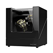 TRIPLE TREE Double Watch Winder for Automatic Watches, Wood Shell Piano Paint Exterior and Extremely Silent Motor, with Soft Flexible Watch Pillows, Suitable forLadies and Mens Wrist