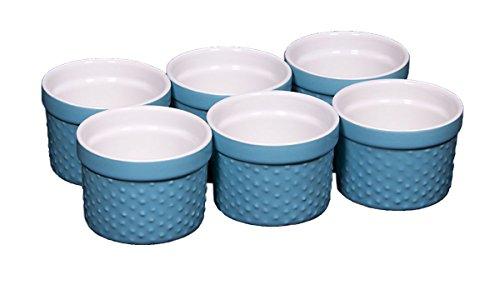 Palais Dinnerware Ramekins Collection Porcelain Soufle Dishes (4 Oz - Set of 6, Aqua Blue - Dots Finish)
