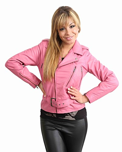 Funky Biker Leather Jacket for Women Ladies Jacket Abbi Pink (SMALL)