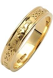 Mens Narrow Rounded Claddagh Wedding Ring 14K Irish Made