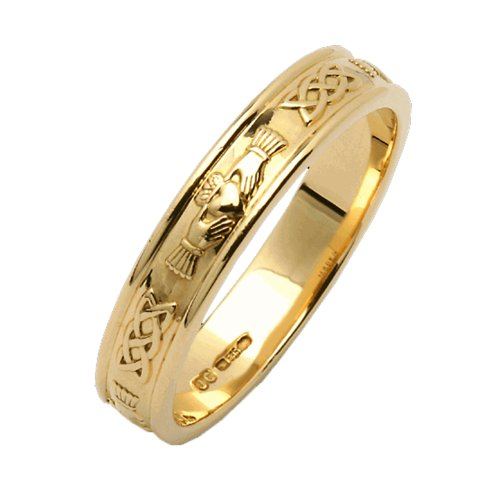 Mens Narrow Claddagh Wedding Ring 14k Yellow Gold Irish Made Sz 10