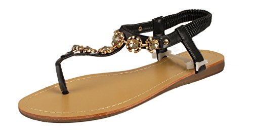 Ladies Gladiator Sandals Womens Flat Heels Toe Post Diamante Bridal Party Evening Beach Sandals Shoes Black 7tOsly3g2