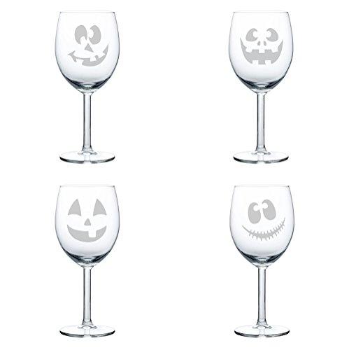 Set of 4 Wine Glass Goblet Jack O' Lanterns Halloween Collection (10 oz)