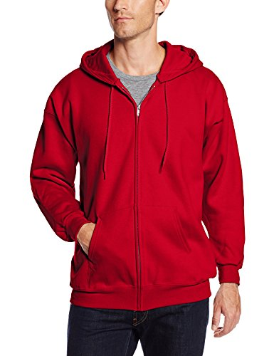 Hanes Men's Full Zip Ultimate Heavyweight Fleece Hoodie, Deep Red, Large
