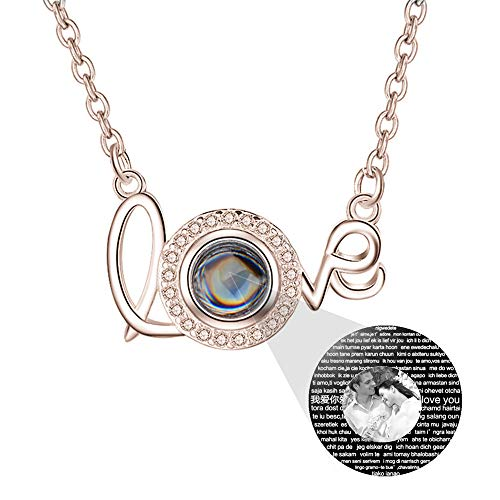 a266XDKSJK Custom Photo Projection Necklace Personalized I Love You Necklace 100 Languages for Girlfriend Memory Pendant Necklace for Women (Rose Gold Black and White 20)