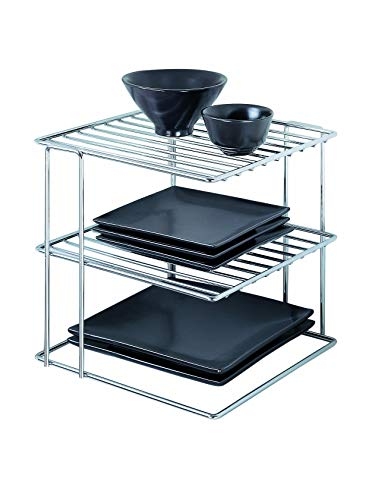 Shoe Triple Finish Cabinet - Organize It All Chrome Kitchen Corner Shelf Organizer