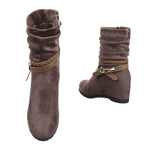 Ital-Design - botas clásicas Mujer marrón y gris