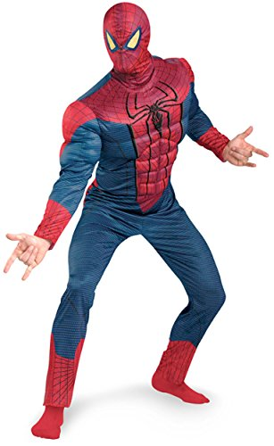Spider Man 3 Muscle Costumes (Disguise Marvel The Amazing Spider-Man 3D Movie Classic Muscle Adult Costume, Red/Blue, X-Large/(42-46))