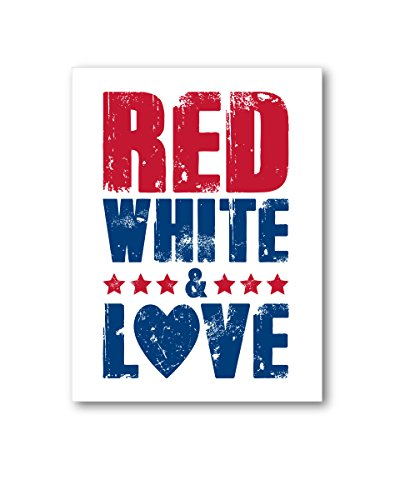 Awkward Styles USA Canvas Red White Love Wall Art Patriotic