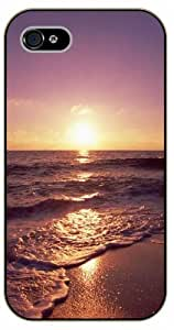 iPhone 5 / 5s Ocean sunset, foamy waves - black plastic case / Nature, Animals, Places Series