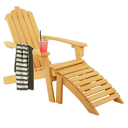 Giantex Folding Adirondack Chair Wood Log Adjustable Detachable Footrest Outdoor Lounge Furniture for Patio Lawn Garden Backyard Beach Room Porch, Pullout Stool Foldable Adirondack Chairs (2-in-1) - Rocking Back Chair Curve