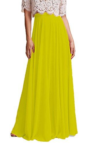 Bridesmaid Honey High Chiffon Long Dresses Waist Skirt Woman Yellowish Qiao Maxi qqgrnTxE