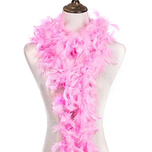 MeiHoyo 6ft 40g Colorful Feather Boas, Assorted Girls Feather Boa, Dress up Boa, Mardi Gras Boa, Feather Boas for Adult (Pink-1PCS)]()
