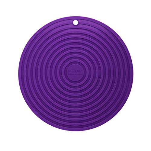 Casserole Color - SLH Table Mat Heat-Resistant Casserole Cushion Round Silicone Insulation Pad Table Anti-hot Pad (Color : Purple)