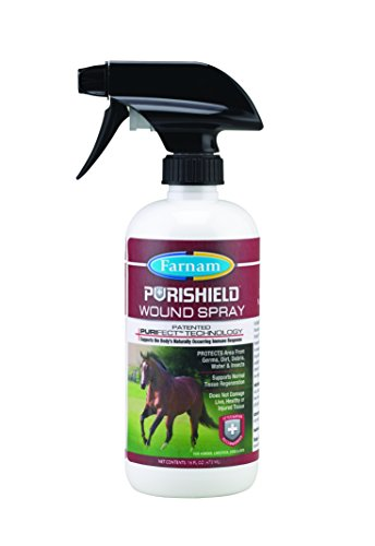 Farnam PuriShield Wound Spray Aids in Wound Cleaning on Horses, Dogs, Cats and Livestock, 16 ounce