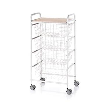 Don Hierro - Verdulero metálico lacado blanco, 4 cestas: Amazon.es: Hogar