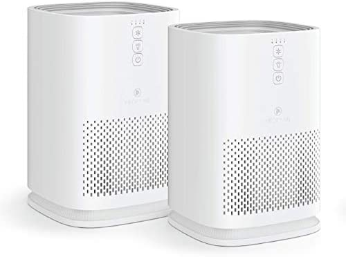 Medify MA-14 Air Purifier with H13 True HEPA Filter   200 sq ft Coverage   for Smoke, Smokers, Dust, Odors, Pollen, Pet Dander   Quiet 99.9% Removal to 0.1 Microns   White, 2-Pack