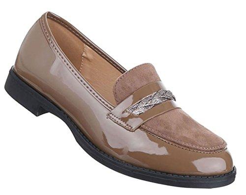 Damen Slipper Schuhe Halbschuhe Schwarz Grau Braun Rot 36 37 38 39 40 41 Braun