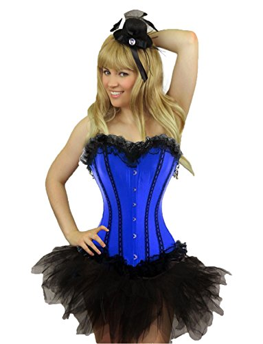 [Yummy Bee Womens Burlesque Corset + Tutu Skirt Costume Size 10 - 12 Blue] (Moulin Rouge Costumes)