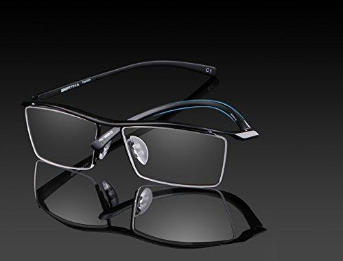 Bertha Men Z Pure Titanium Semi-rimless Eyewear Business Optical Glasses Frame Prescription Eyeglasses 8189
