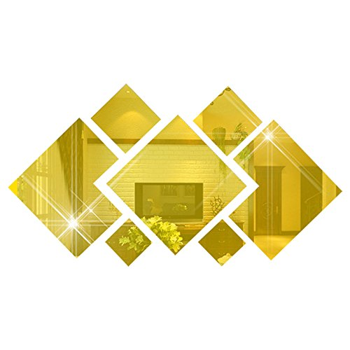 - autulet Gold 3D Mirror Diy Diamond-Shaped Home Decoration 7 Pcs Wall Stickers Decals Living Room Bedroom
