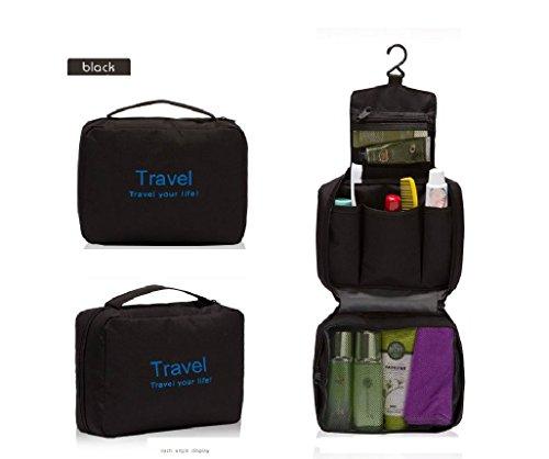 Onewiller unisex lusso appeso pieghevole borsa trucco bag escursionismo borsa da palestra (nero)