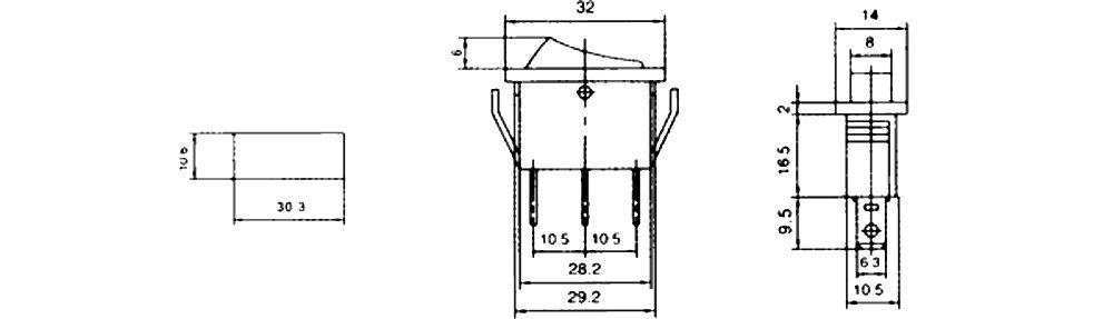 Interrupteur commutateur contacteur bouton /à bascule noir SP3T ON-OFF-ON 15A//250V 3 positions AERZETIX