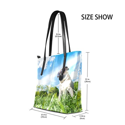 Handbag Shoulder TIZORAX Fashion PU Purses Bags Handle Pug Mops Leather Totes Top Dog Women's wvqr0gYva